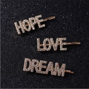 Crystal Hair Pin Word Hope Love Dream Set of 3